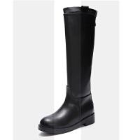 长筒靴女平底靴子女2018新款粗跟女靴冬季加绒不过膝高筒靴骑士靴SN0736