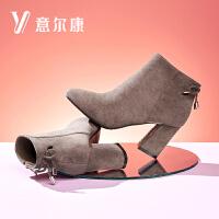 意尔康2018新款女靴蝴蝶结绑带短靴粗跟加绒保暖女短靴踝靴