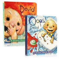 【全店300减100】英文原版 凯迪克奖Oops! David shannon David Smells!2本 儿童英语