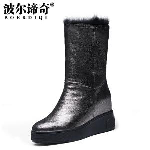 波尔谛奇2017冬新款羊皮中筒雪地靴圆头兔毛内增高套筒棉靴女7550