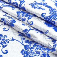 织锦缎布料面料古装汉服娃衣服装旗袍面料布料/织锦缎-青花瓷凤尾 1件半米价格