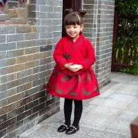 儿童旗袍2018冬女童唐装过年喜庆新年装汉服棉衣宝宝拜年服两件套 红色夹棉外套+背心裙