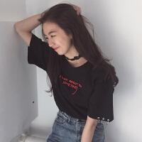 刺绣字母短袖T恤女夏装新款韩版原宿风个性圆环上衣打底衫学生潮