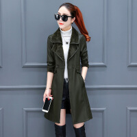 外套女秋冬季2018新款时尚韩版秋季中长款夹克加绒加厚皮衣风衣潮