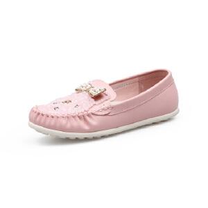 比比我新品新款品童鞋2017春新款串珠蝴蝶结女童豆豆鞋女时尚皮鞋