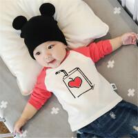 婴儿秋季新款衣服男女宝宝0-3岁幼儿外出纯棉新生儿上衣T恤潮
