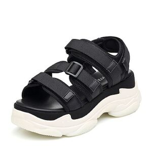 Teenmix/天美意2018夏纺织品多条带厚底运动风魔术贴女凉鞋18601BL8