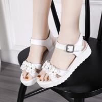 夏季女童凉鞋韩版公主儿童沙滩鞋9-15岁学生大童花朵凉鞋