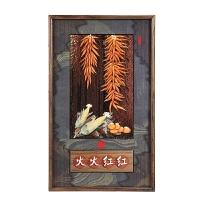 新中式装饰画客厅玄关实木雕刻壁挂画中国风背景墙浮雕玉雕画挂件 75c*125c