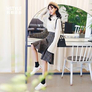 【1件3折:54元】韩都衣舍2019春季新款版女装毛呢高腰格子荷叶边半身裙MR8603�S