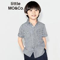 【折后价:199.6】littlemoco男童复古黑白格子短袖纯棉衬衫KA172SHT106 moco