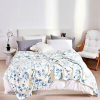 毛毯子印花法兰绒珊瑚绒双人毯午睡毯学生宿舍四季通用被子保暖床单静谧幽蓝 静谧幽蓝