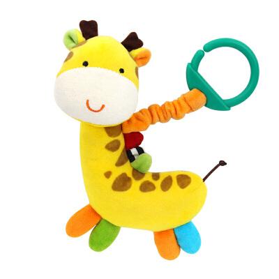 橙爱 奇趣长颈鹿挂铃宝宝车床挂带响纸婴幼儿毛绒安抚布偶玩具益智玩具限时钜惠