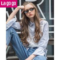 Lagogo/拉谷谷2019年春季新款时尚单排扣衬衫两件套