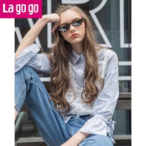 【清仓3折价119.7】Lagogo/拉谷谷2019年春季新款时尚单排扣衬衫两件套