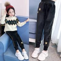 女童运动裤加绒加厚中大童休闲裤冬季2018韩版儿童双面绒保暖裤子