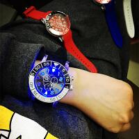 韩国透明炫酷夜光手表时尚大表盘原宿学生男女情侣发光手表潮