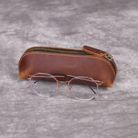复古疯马皮笔袋简约创意个性眼镜盒男初中生真皮拉链笔套