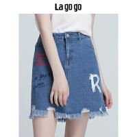 Lagogo2018夏季新款高腰牛仔半身裙女下装毛边字母印花短款裙子HABB115Y43