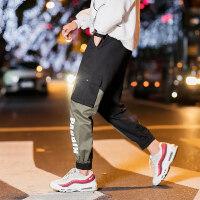 拼色运动休闲裤男2018秋冬季新款宽松束脚裤韩版潮流加绒工装裤子