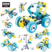 百思奇10合1自装电动积木拆拼装软体螺母组合DIY汽车儿童玩具 6844