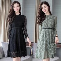蕾丝连衣裙女2018秋季新款修身显瘦中长款时尚气质长袖打底裙