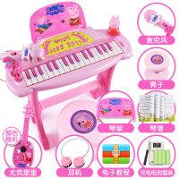 小猪佩奇幼儿童电子琴3-6岁1女孩女童宝宝初学者小钢琴玩具 礼盒装-充电版 4供电【麦克风 耳机 琴架 尤克里
