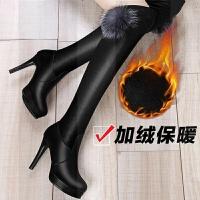 加绒长筒靴2018冬季新款过膝靴弹力高跟长靴细跟女靴子网红瘦瘦靴SN3939