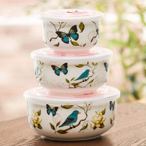 爱屋格林创意家居美式陶瓷大中小带盖保鲜碗三件套便当圆形保鲜碗