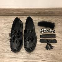 韩国百变魔法贴小黑鞋百搭套头圆头蝴蝶结小平跟单鞋乐福鞋