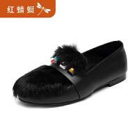 【领�幌碌チ⒓�120】金粉世家 红蜻蜓旗下 冬季新款女士单鞋兔毛真皮甜美舒适