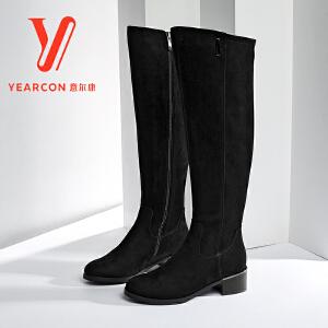 意尔康女鞋 2017冬季新款时尚粗跟女靴复古磨砂长筒靴瘦腿长靴女