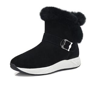 骆驼牌女靴 2017秋冬款新款轻奢时髦保暖兔毛镶边时尚圆头女靴子