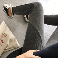 加厚加绒打底裤女纯色拼接2018春季新款韩版弹力显瘦外穿保暖 灰色 加绒加厚 均码