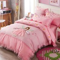 ins卡通女孩梦幻公主蕾丝绣花纯棉四件套1.2m三件套儿童床上用品 梦幻公主