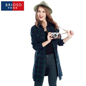 BRIOSO 全棉薄款风衣 女装秋季新品韩版外套 女中长款系带修身风衣 大码女装 WG58995