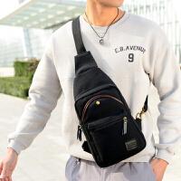 胸包男士斜挎包背包 韩版潮包休闲帆布单肩包腰包时尚学生男包包 黑色