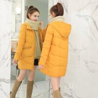 冬季新款韩版中长款女加厚保暖宽松棉袄学生连帽面包服女