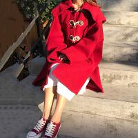 冬季女装韩版宽松连帽牛角扣毛呢外套百搭中长款学生加厚呢子大衣