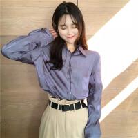 春季复古韩版简约翻领单排扣褶皱面料宽松气质冷色系长袖衬衫女