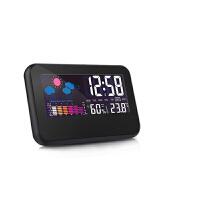 创意时尚温湿度计电子钟 彩屏气象钟声控闹钟 办公家用室内外温度计 测温计 湿度计