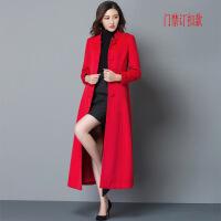 女士羊毛呢子大衣中长款气质修身显瘦小立领毛呢外套羊毛风衣