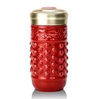 乾唐轩活瓷杯小乾坤随身杯火红单层360ml创意陶瓷水杯子创意商务礼品