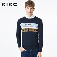 kikc毛衣男秋季新款韩版菱形印花圆领修身时尚休闲长袖针织衫线衣