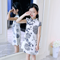 女童古典旗袍裙夏装新款中大儿童中国风连衣裙小女孩棉布裙子