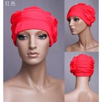 百褶游泳帽女士超大长发护耳舒适时尚新款大女士长发专用