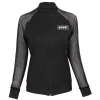 新款专业健身瑜伽服网纱长袖外套女速干休闲运动透气跑步sport上衣 黑