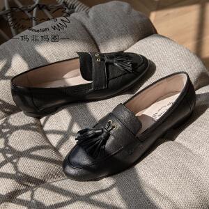 玛菲玛图小皮鞋女学院风2018新款女鞋低跟流苏圆头春季单鞋女平底M201834T13SR