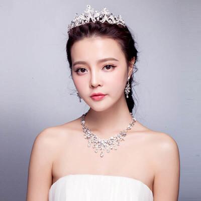 新娘头饰三件套镶钻皇冠项链套装婚纱配饰结婚发饰首饰品 皇冠