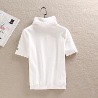 秋冬装韩版短袖大码打底T恤女高领纯棉磨毛短款简约纯色小衫 白色 五分袖